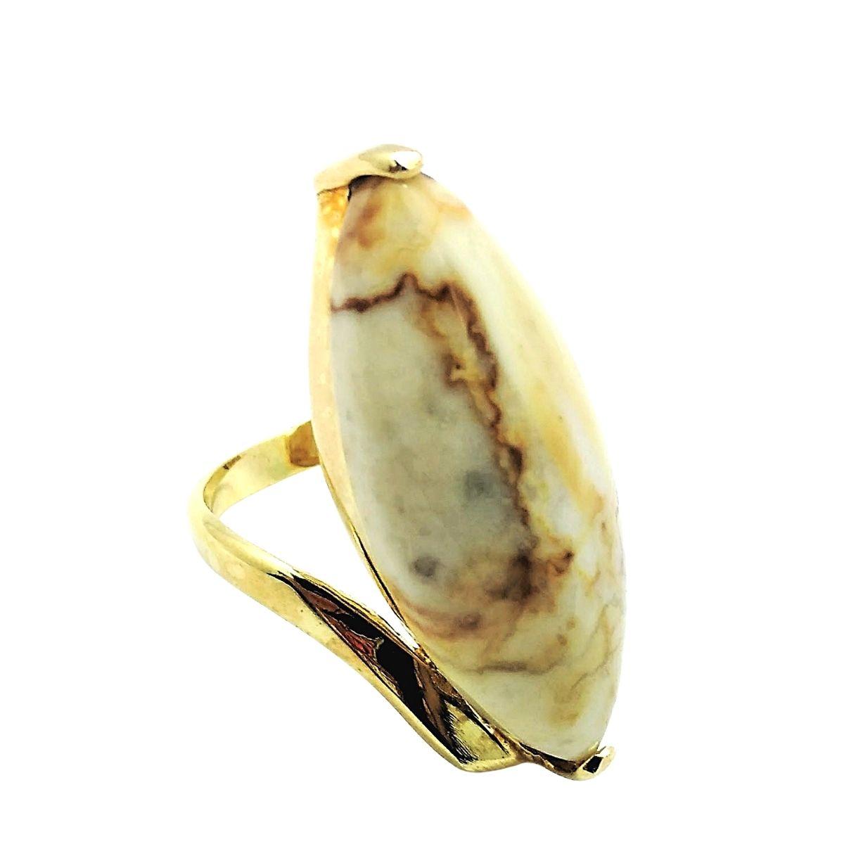Anel Pedra Navete Banho De Ouro 18k 2213