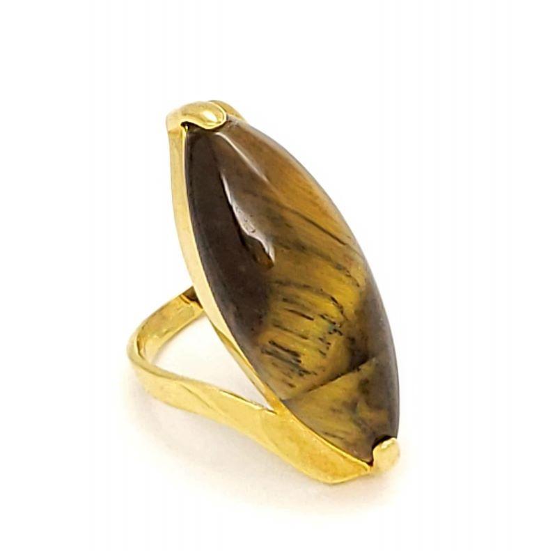 Anel Com Pedra Navete Banho De Ouro 18k 1597