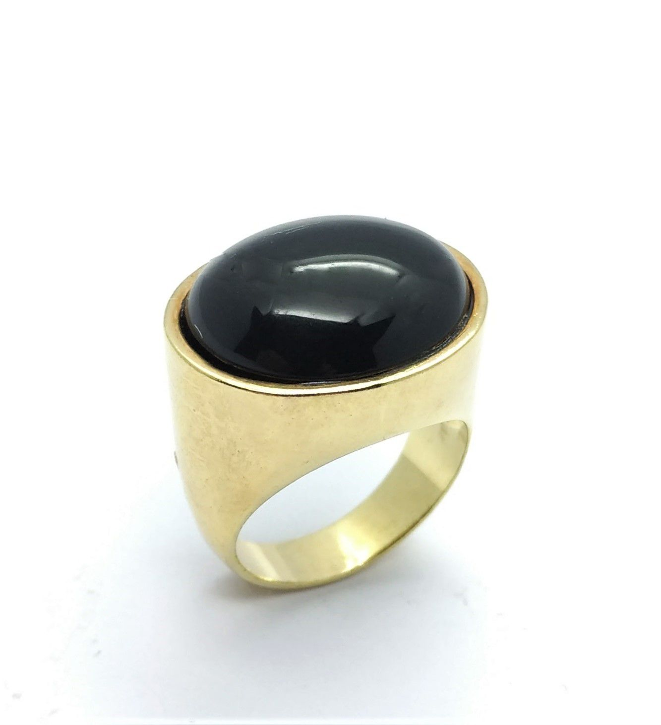 Anel Pedra Oval Transversa Banho Ouro 18k 2212