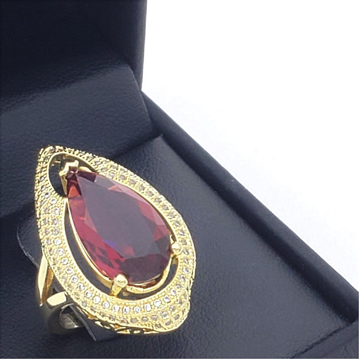 Anel Pink Rubelita Cravejado De Zirconias Banho De Ouro 18k 2394