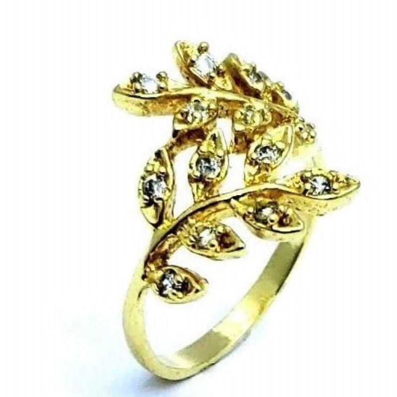 Anel Ramos Cravejados Zirconia Cristal Banhados A Ouro 18k 1177a