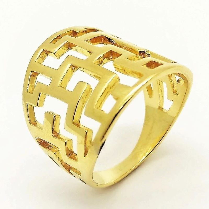 Anel Rendado Desenho Grego Banhado A Ouro 18k 1156