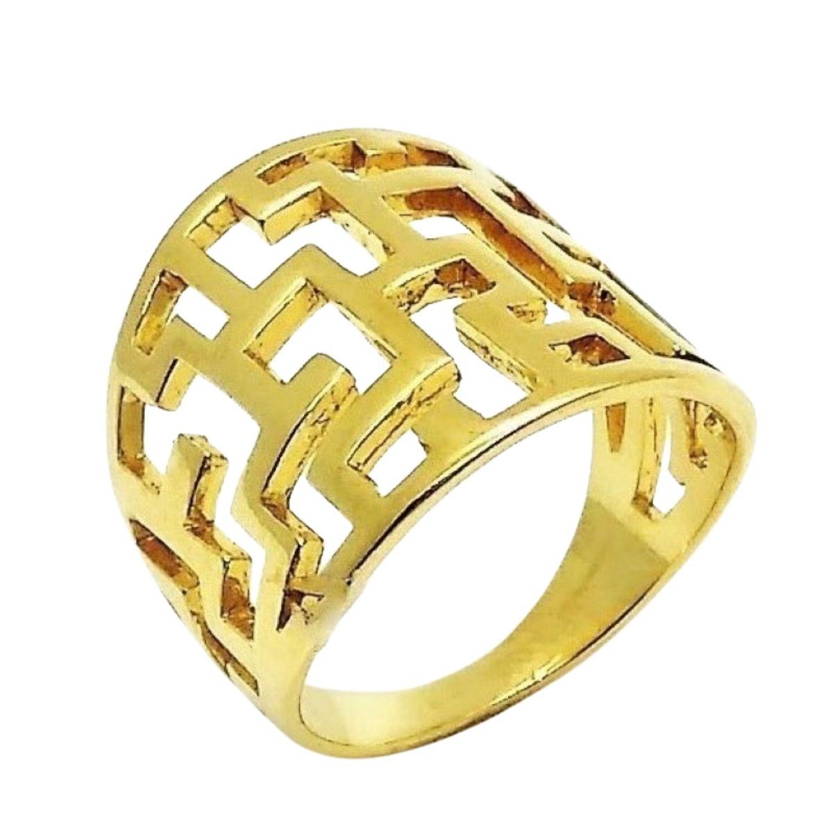Anel Rendado Desenho Grego Banho De Ouro 18k 1156