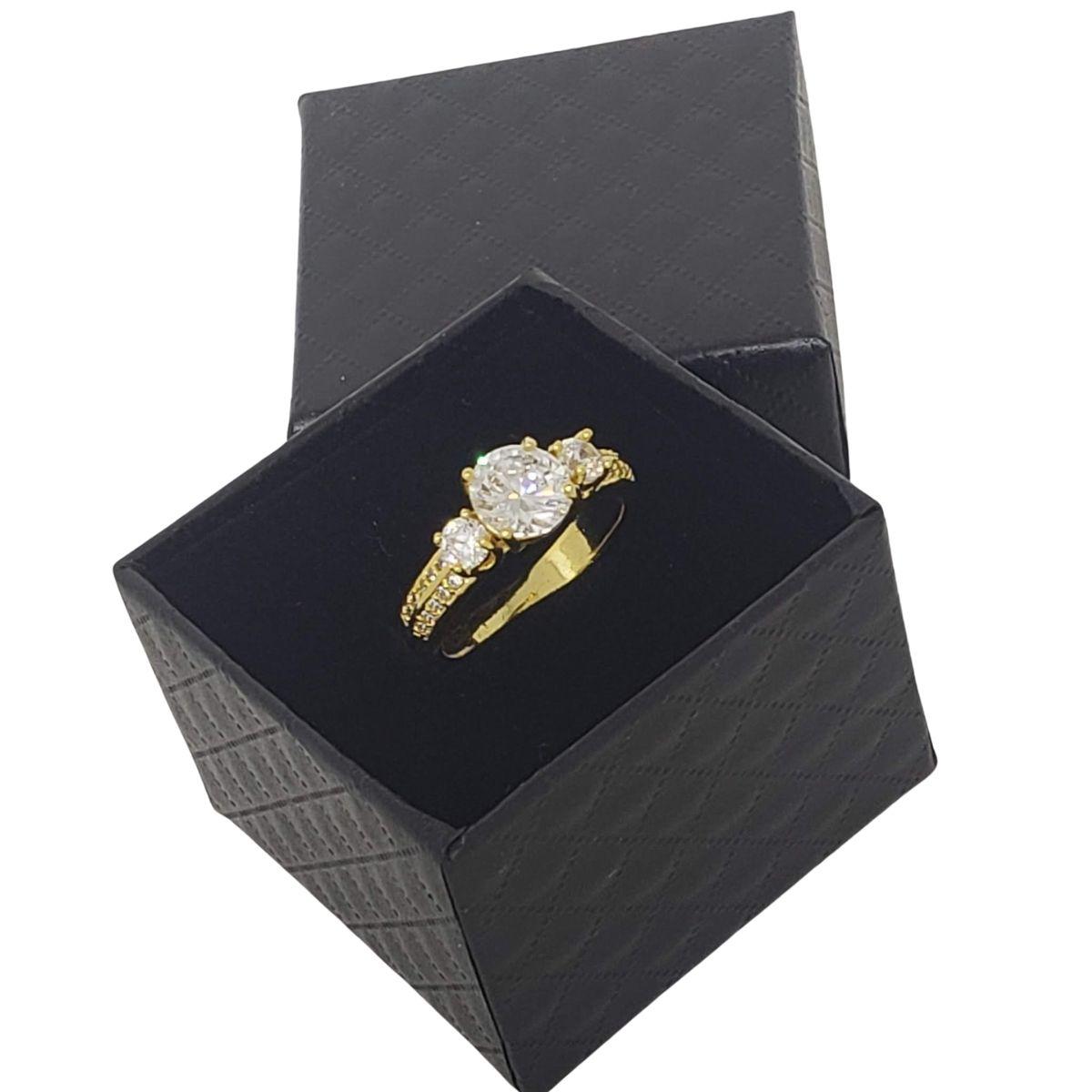 Anel Solitário Cravejado De Zirconias Banho De Ouro 18k 1163