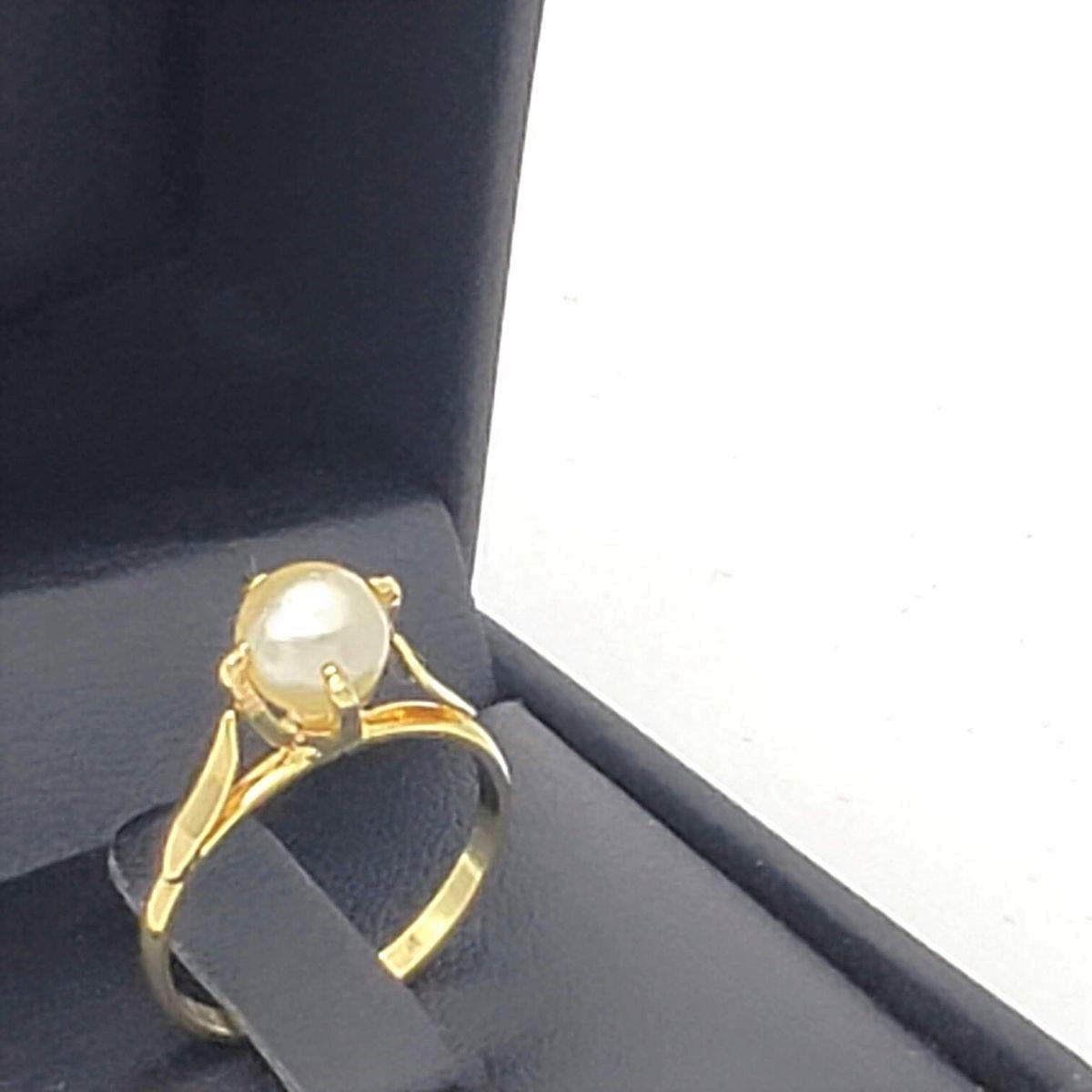 Anel Solitário De Pérola Banho De Ouro 18k 2465
