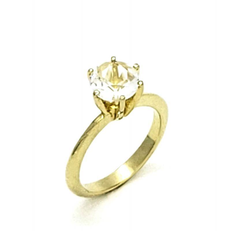 Anel Solitário Zirconia Cristal Banhado A Ouro 18k 2260