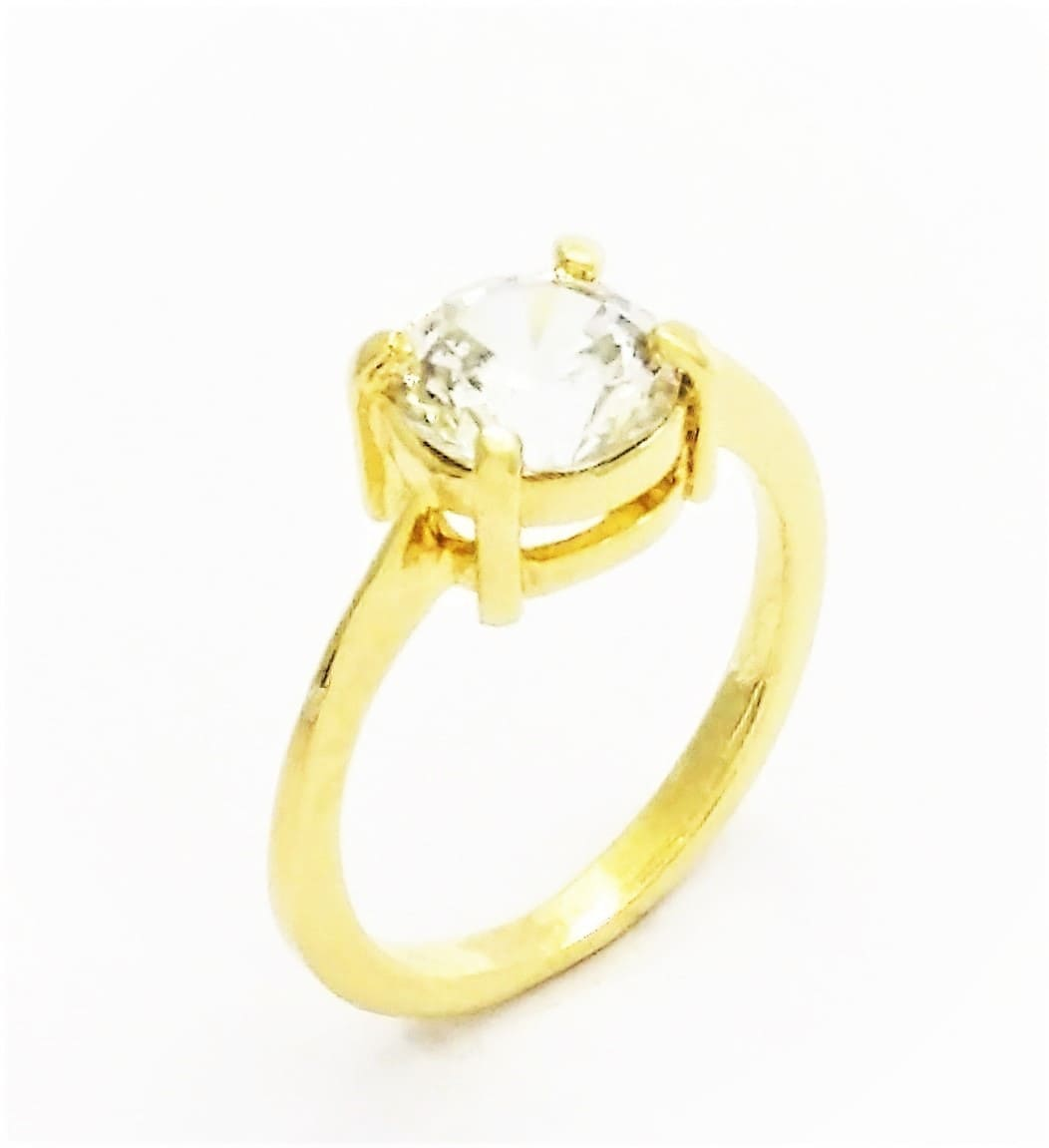 Anel Solitário Zirconia Cristal Banho Ouro 18k 2306