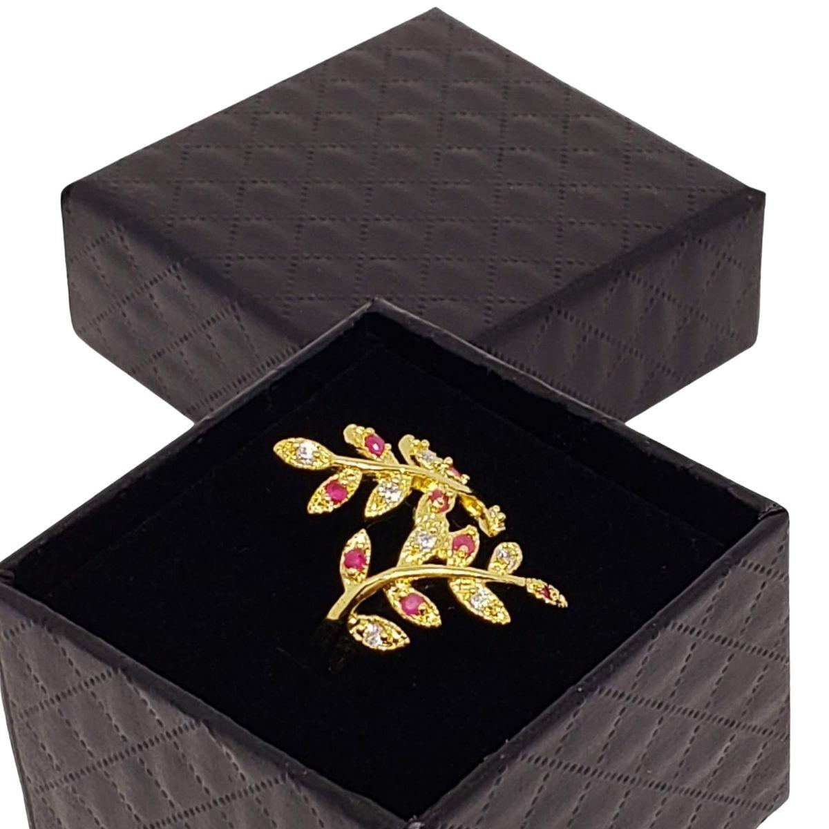 Anel Vermelho Rubi Cravejado De Zirconias Banho De Ouro 18k 1177