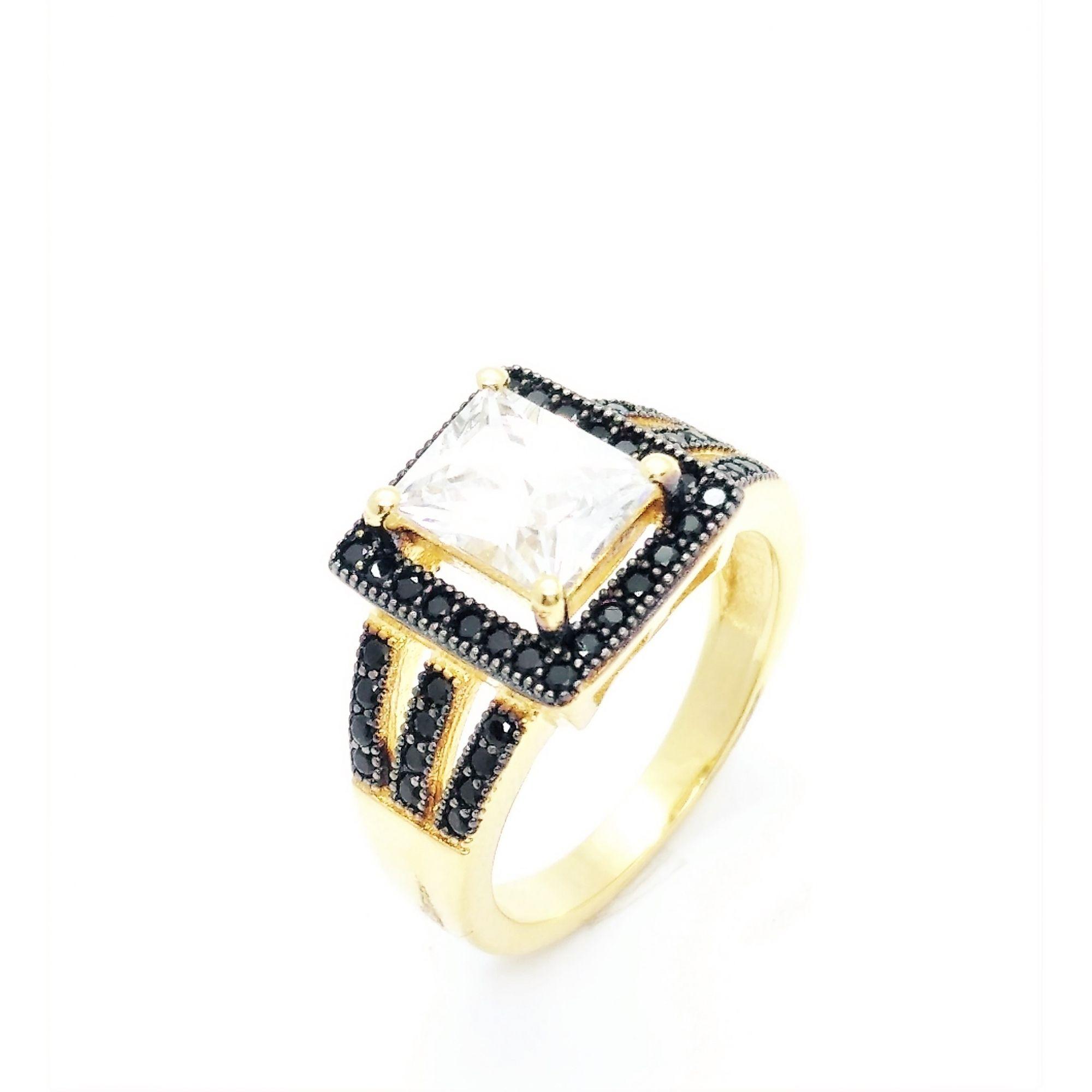 Anel Zirconia Cristal E Microzirconias Negras Banho Ouro 18k 2641