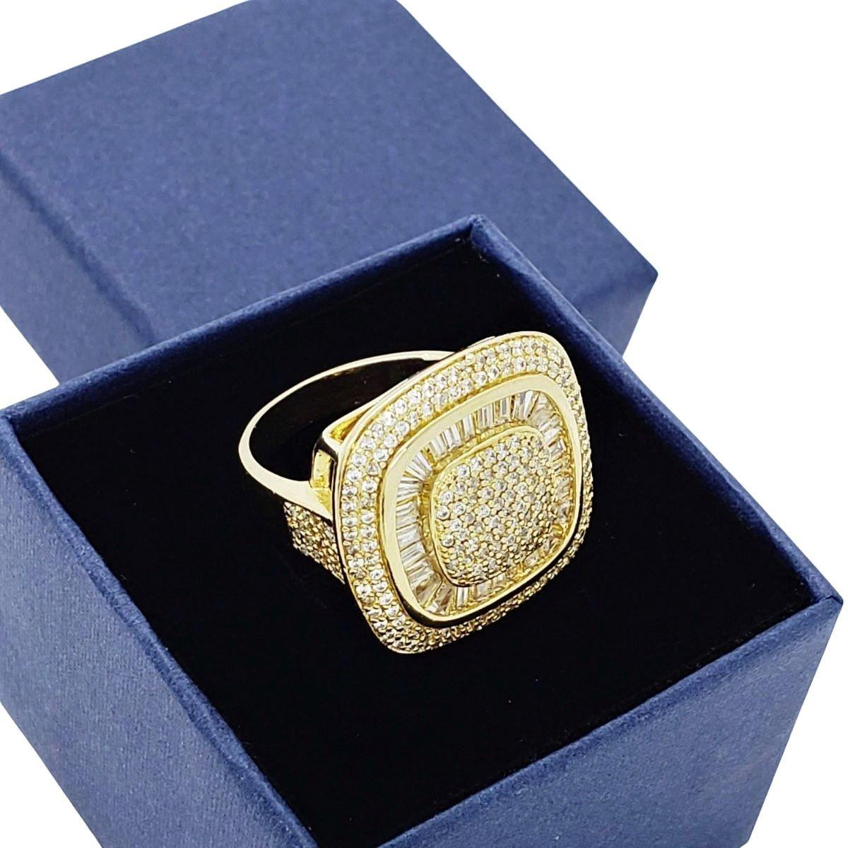 Anel Zirconias Baguete E Cravejado Pavé Banho De Ouro 1042
