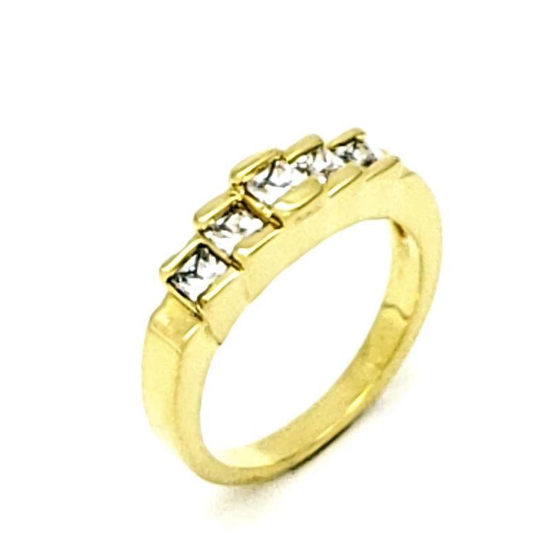 Anel Zirconias Cristal Banhado A Ouro 18k 1190