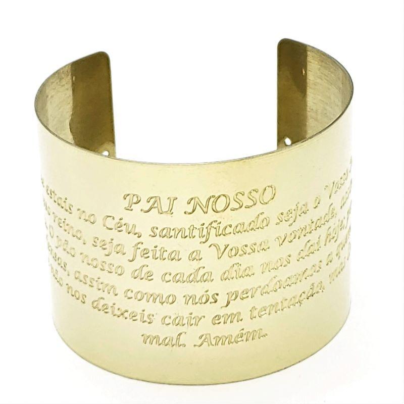 Bracelete Ajustável Pai Nosso Banho De Ouro 18k 1739
