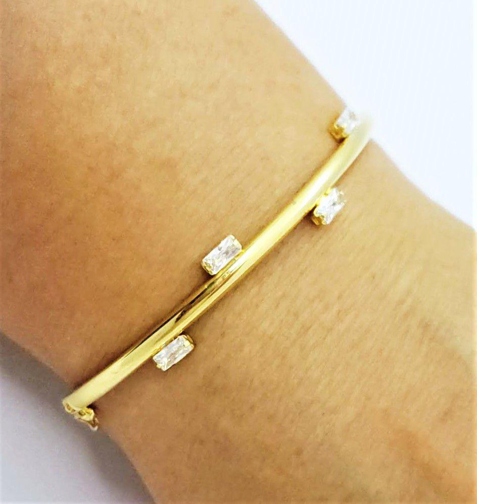Bracelete Algema 4 Pontos De Luz Banho Ouro 18k 4618