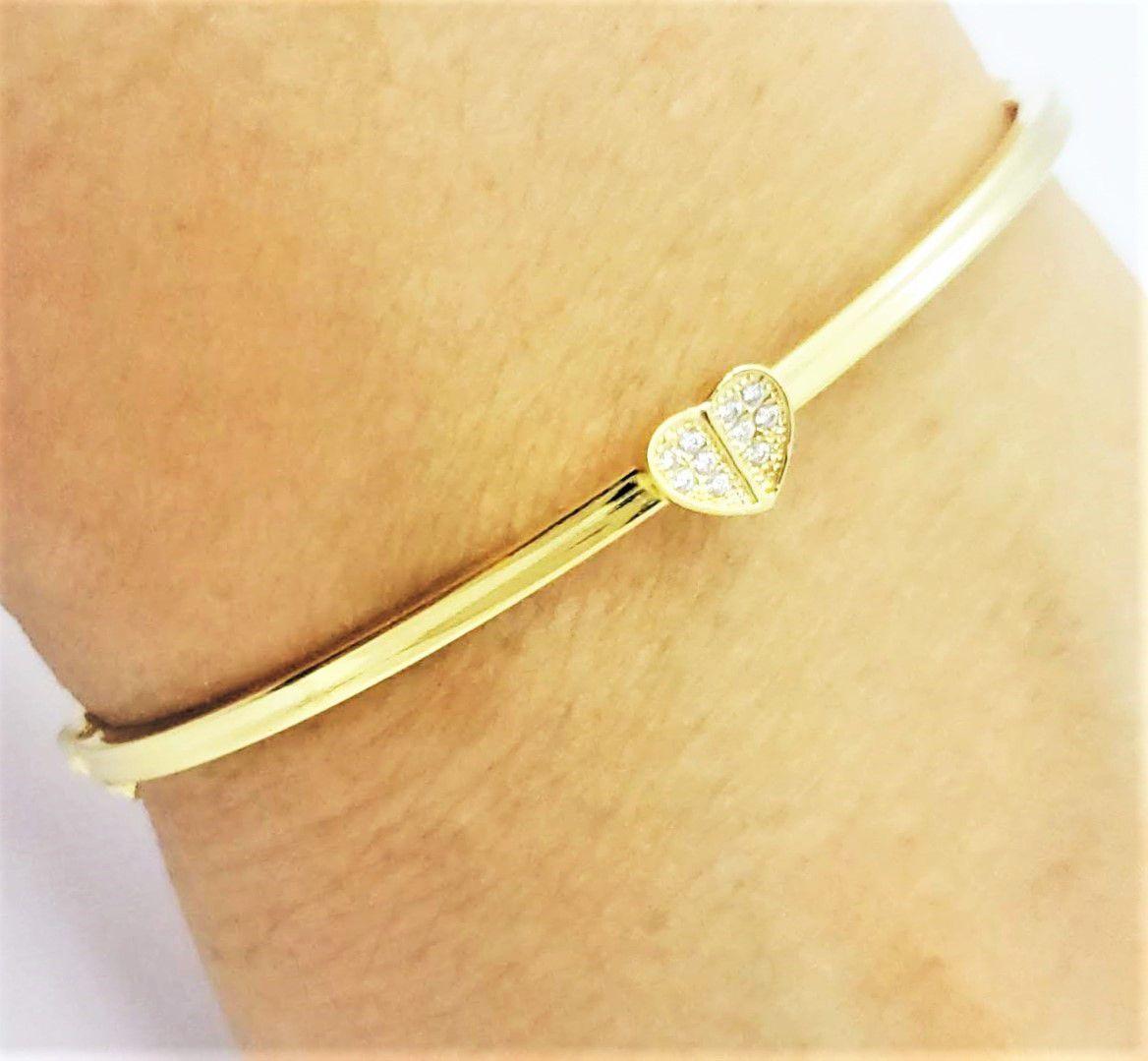Bracelete Algema Coração Cravejado De Zirconias Banho De Ouro 18k 4609