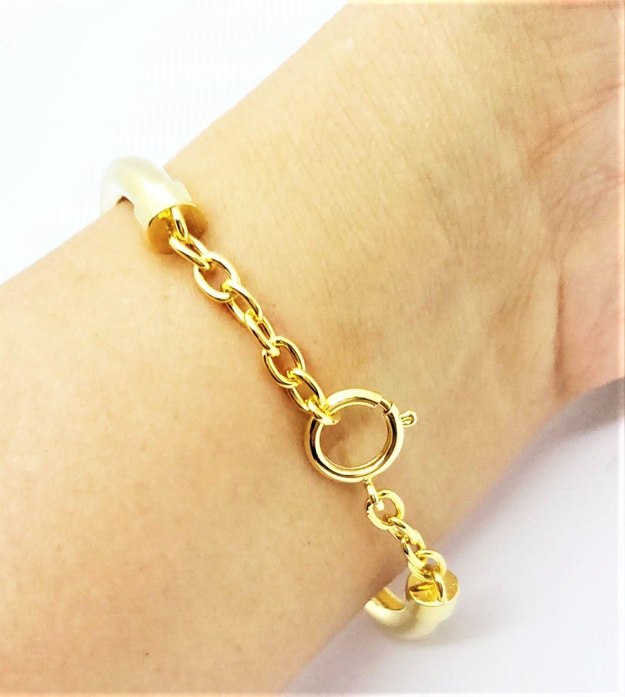 Bracelete Algema Ajustável Cravação Pavé Microzirconias Banho Ouro 18k 4632