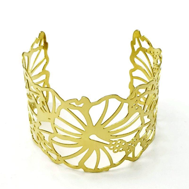 Bracelete Flores Ajustável Banhado A Ouro 18k 1625