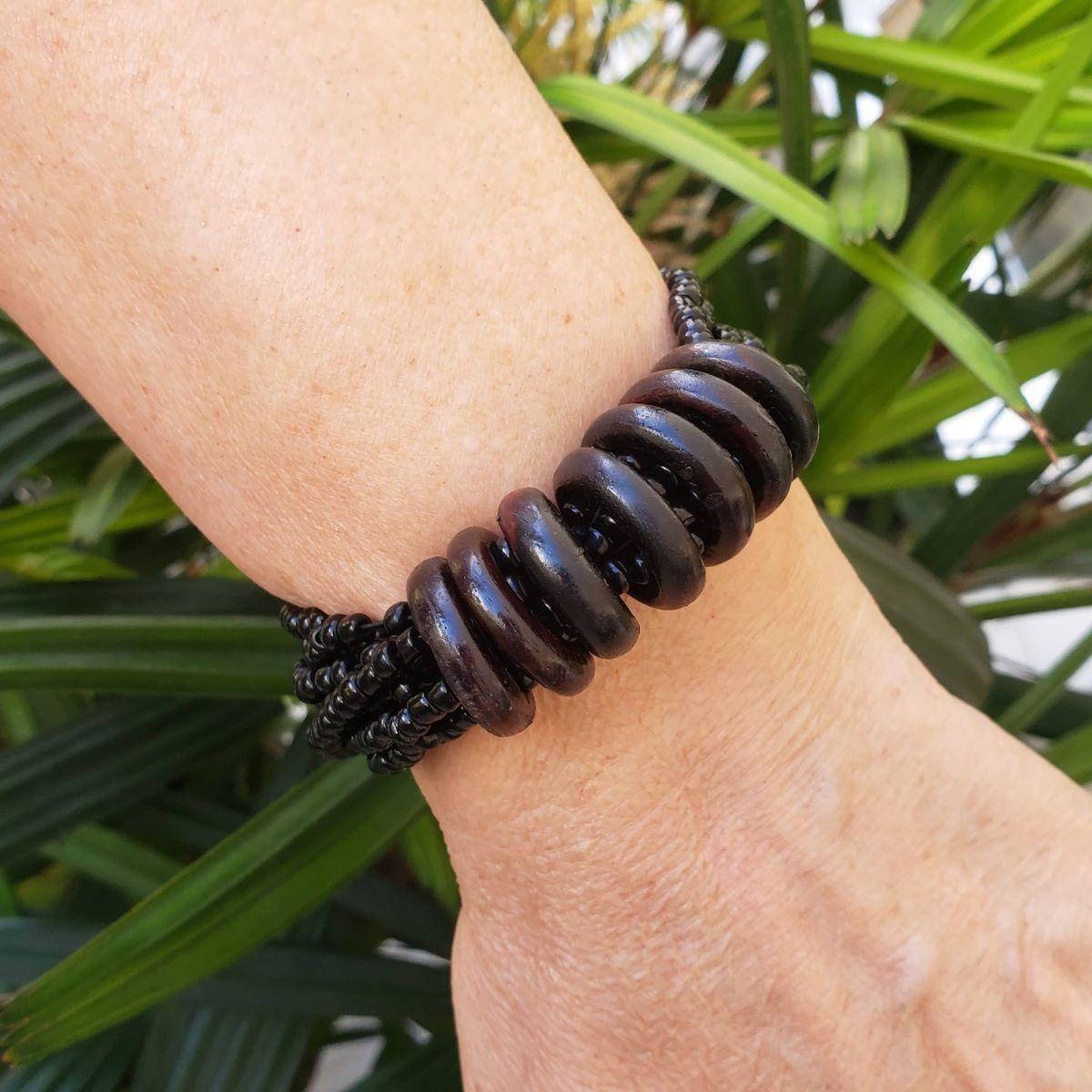 Bracelete Miçangas Com 7 Elos De Madeira 2115
