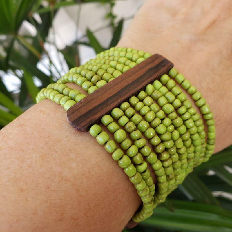 Bracelete Miçangas Detalhes Em Madeira 2118