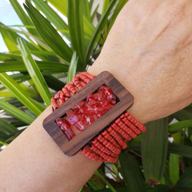Bracelete Miçangas Madeira E Cascalhos 2114