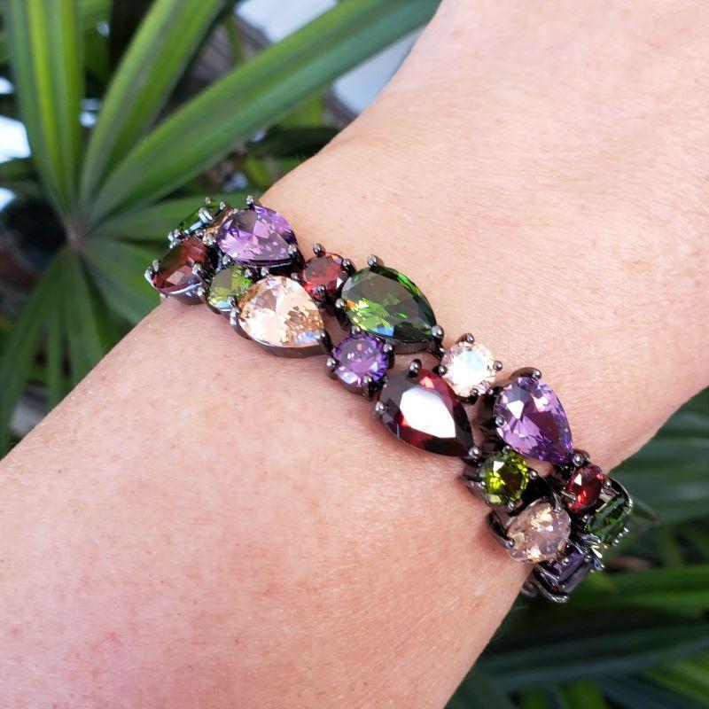 Bracelete Riviera Com Zirconias Banho Ródio Negro 4514