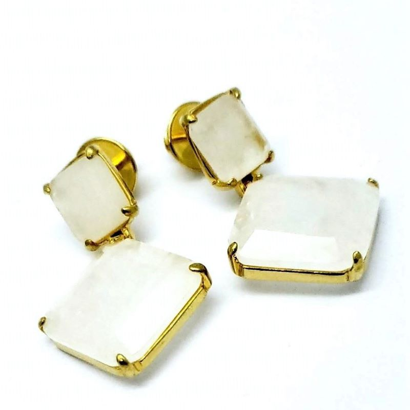 Brincos Pedra Natural Ágata Branca Banho De Ouro 18k 1055
