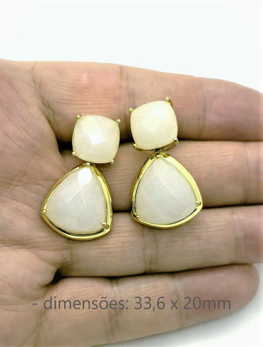 Brincos De Pedra Natural Ágata Branca Banhados A Ouro 18k 50
