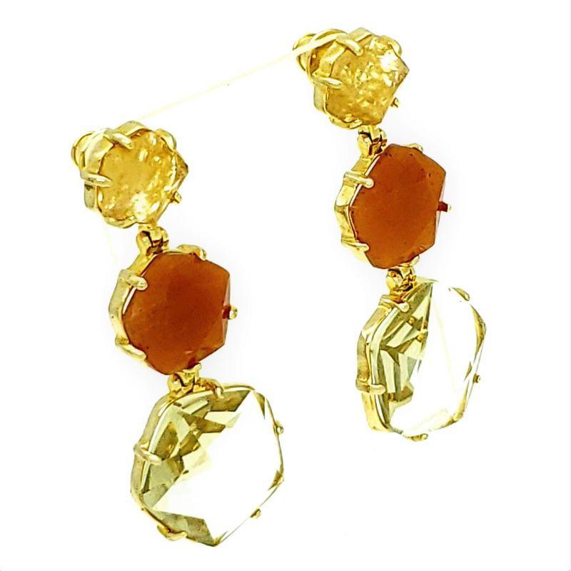 Brincos De Pedra Ágata Pêssego Cristal E Rutilo Banho De Ouro 1092