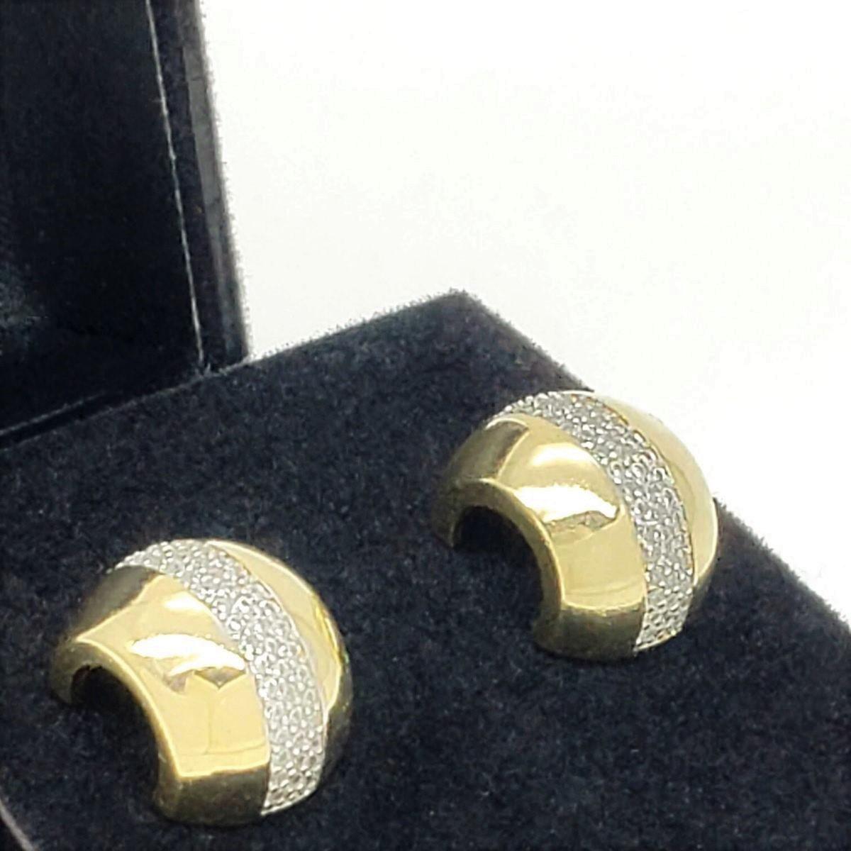 Brincos Argola Cravejados De Zirconias Banho De Ouro 18k 2588