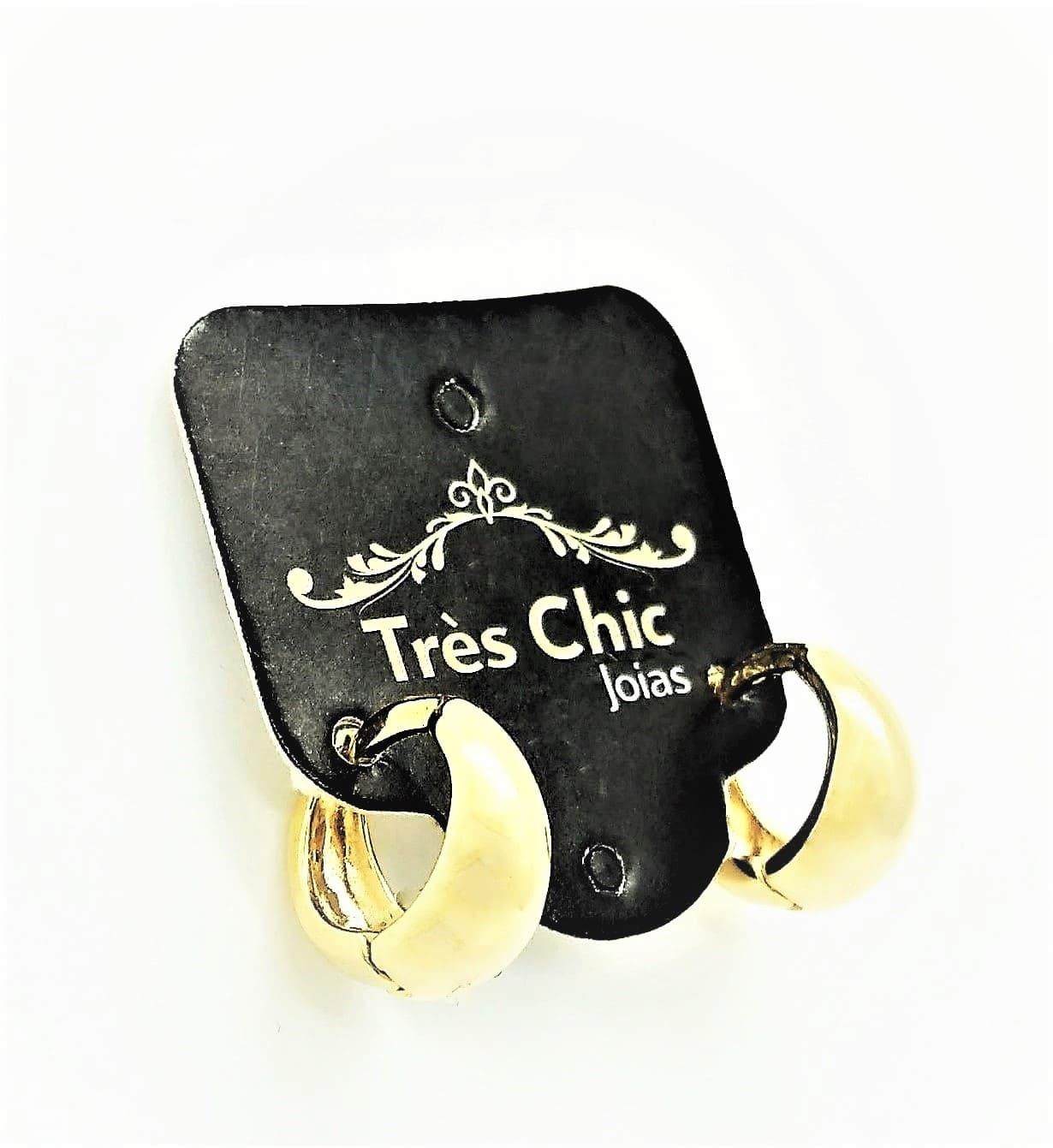 Brincos Argolas 10mm Fecho Tic-tac Banho Ouro 18k 2415