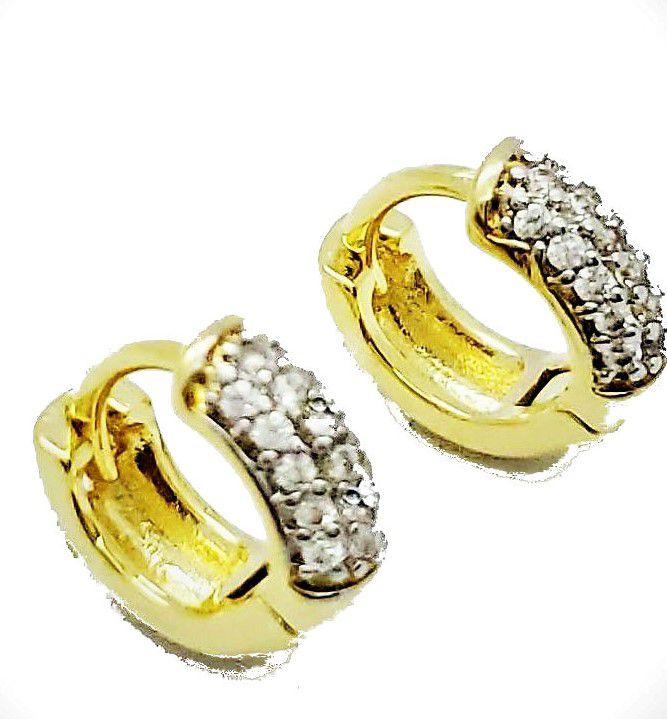 Brincos Argolas 2° 3° Furos Pavé Zirconias Banho Ouro 4547