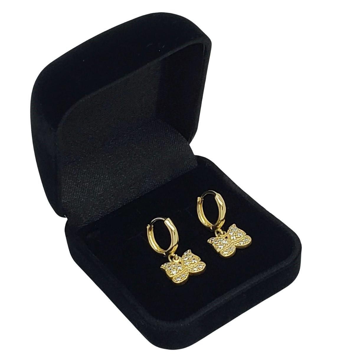 Brincos Argolas Borboleta Cravejados De Zirconias Banho De Ouro 18k 1759