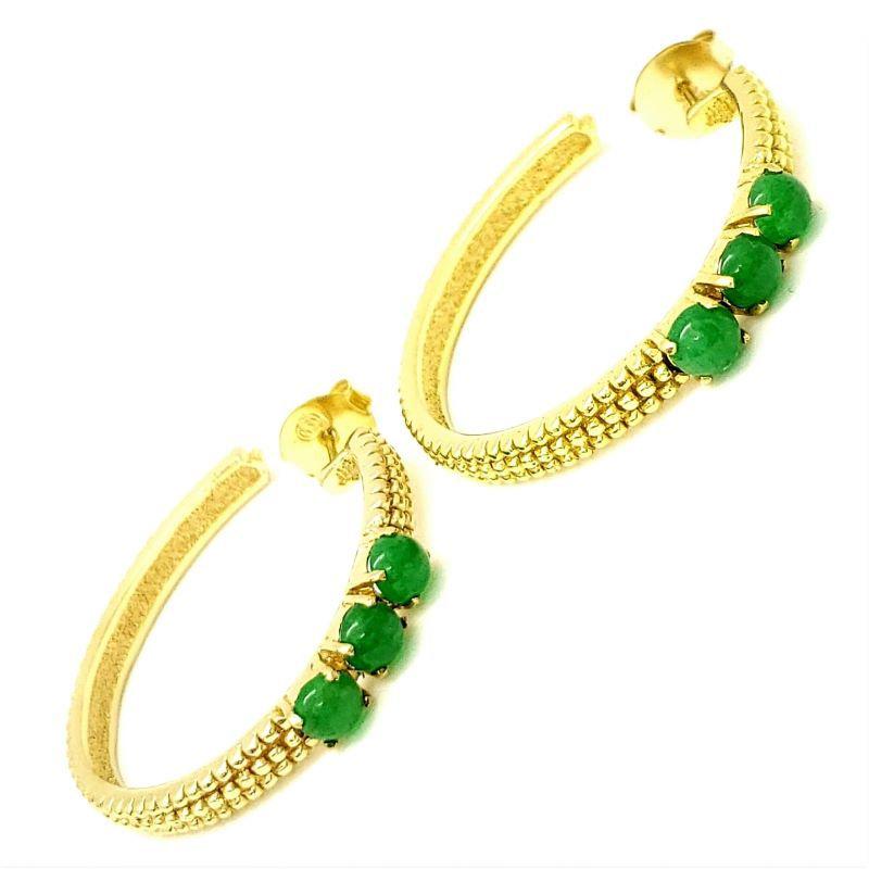 Brincos Argolas Chatons Verde Jade Banhados A Ouro 18k 795
