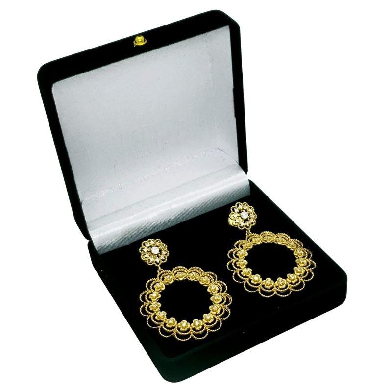 Brincos Argolas Com Zirconias Banho De Ouro 18k 3587