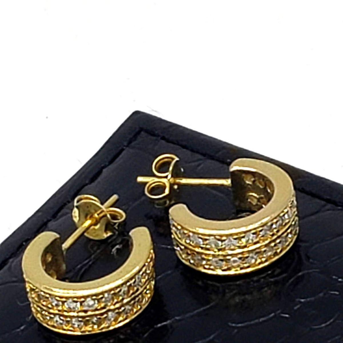 Brincos Argolas Cravejadas Com Zirconias Banho De Ouro 18k 1760