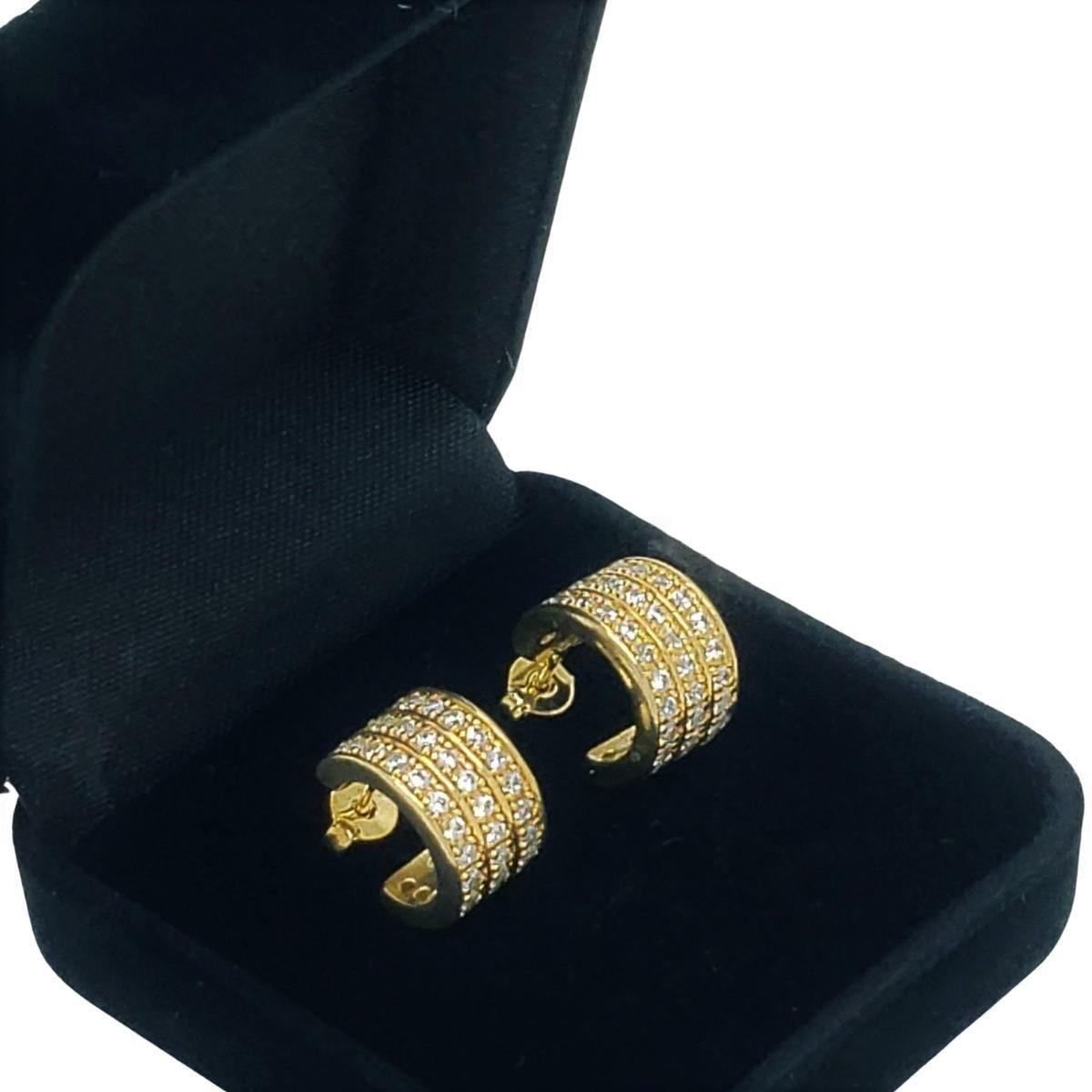 Brincos Argolas Cravejadas Com Zirconias Banho De Ouro 18k 1765