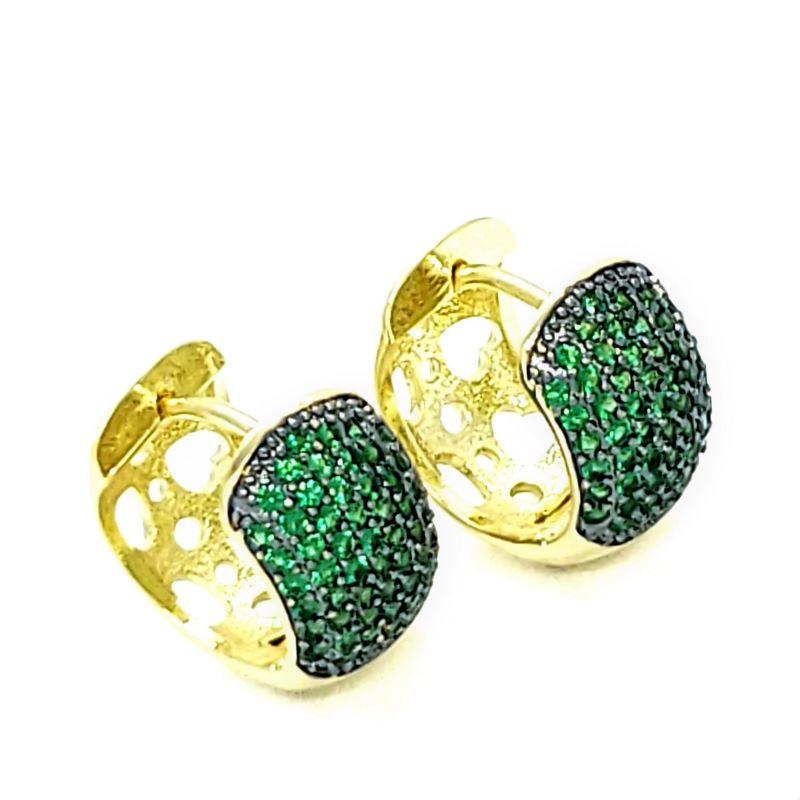 Brincos Argolas Cravejado Pavé De Zirconias Verde Esmeralda Banhados A Ouro 18k 4586