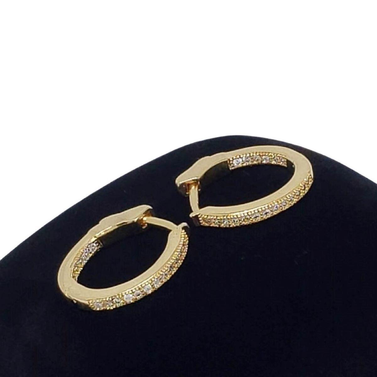 Brincos Argolas Cravejados De Zirconias Fecho Italiano Banho De Ouro 18k 1368