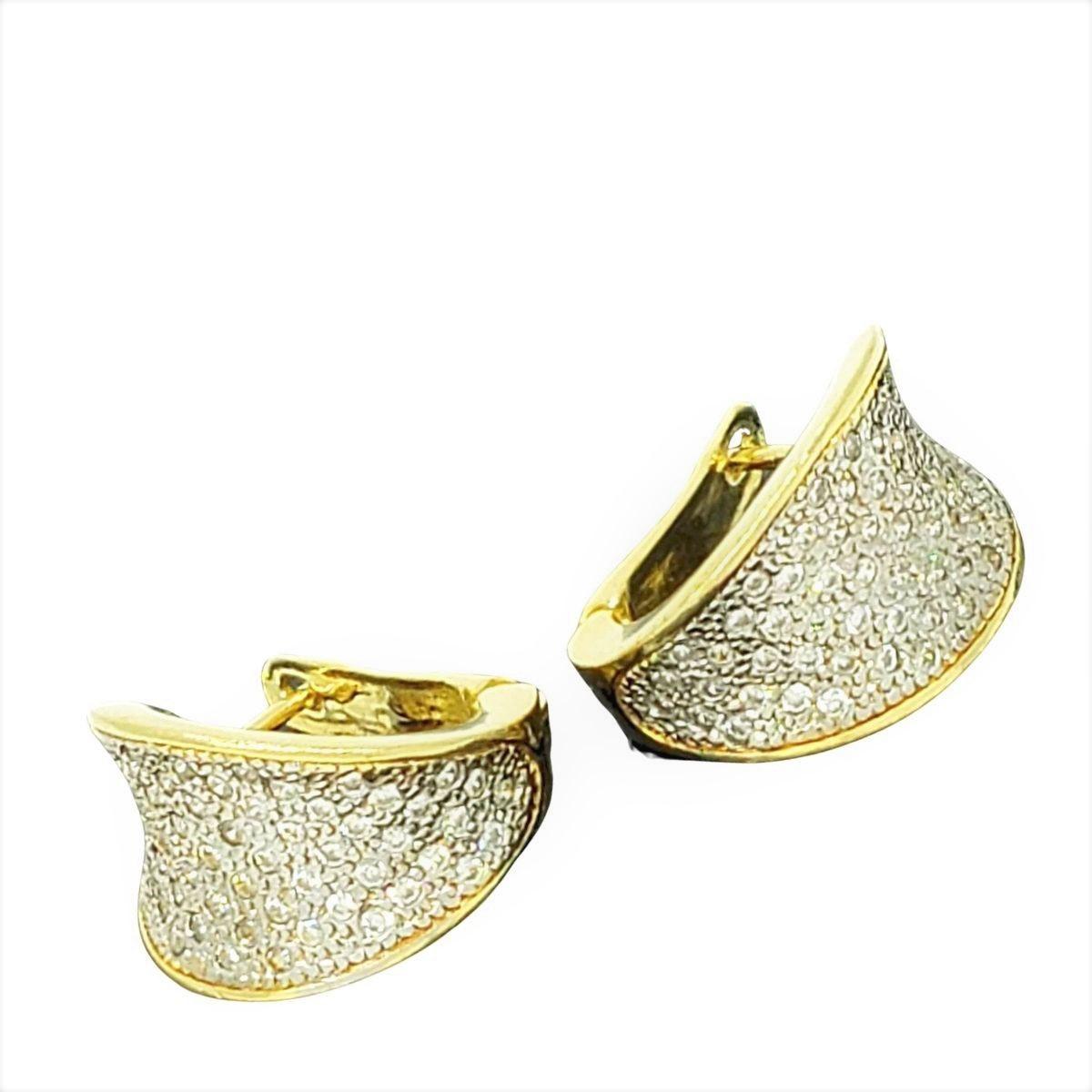 Brincos Argolas Cravejados De Zirconias Fecho Italiano Banho De Ouro 18k 2243
