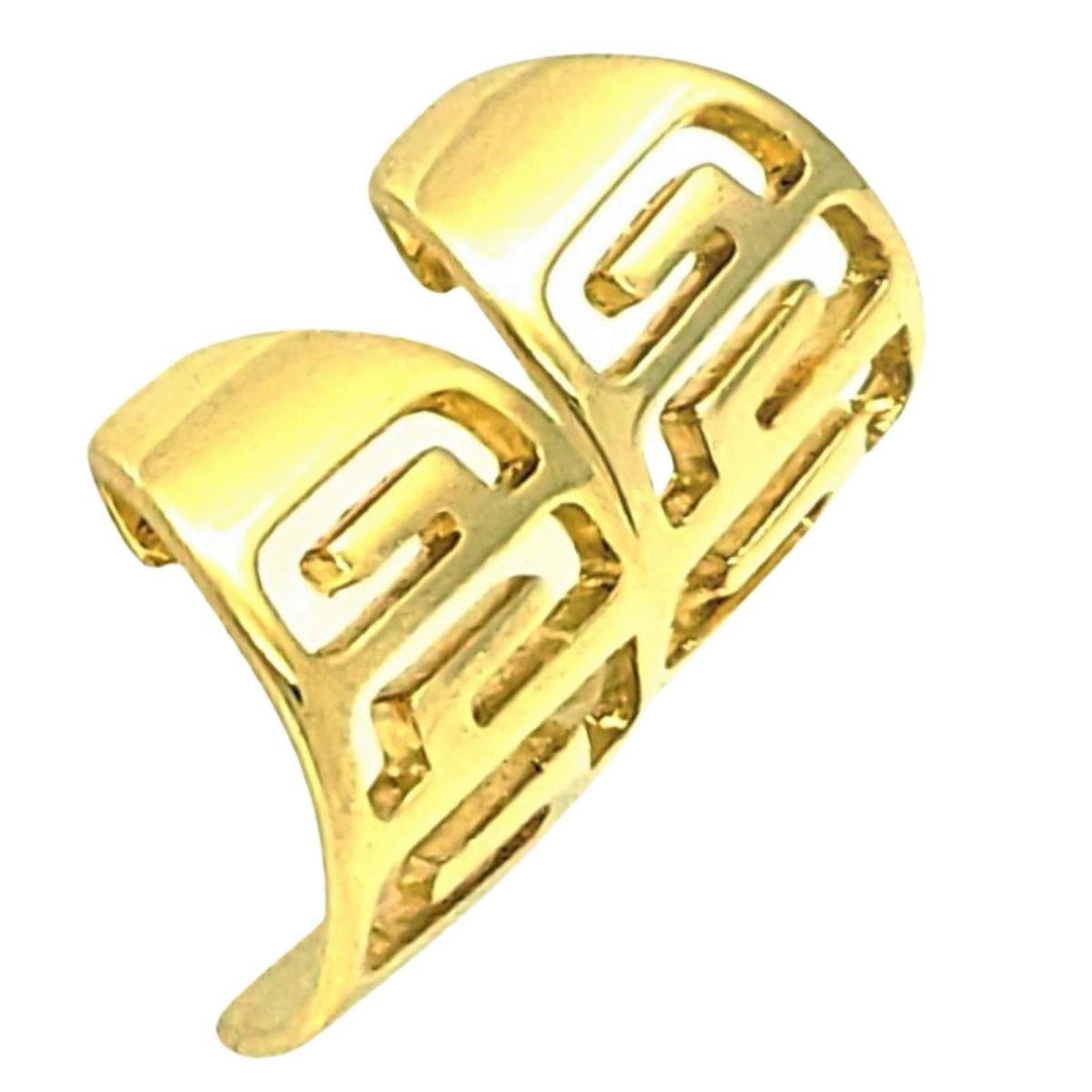 Brincos Argolas Desenhos Gregos Banho De Ouro 18k 1379