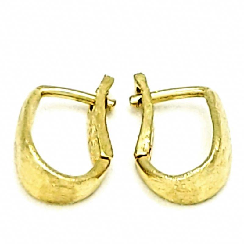 Brincos Argolas Escovadas Banho De Ouro 18k 1362