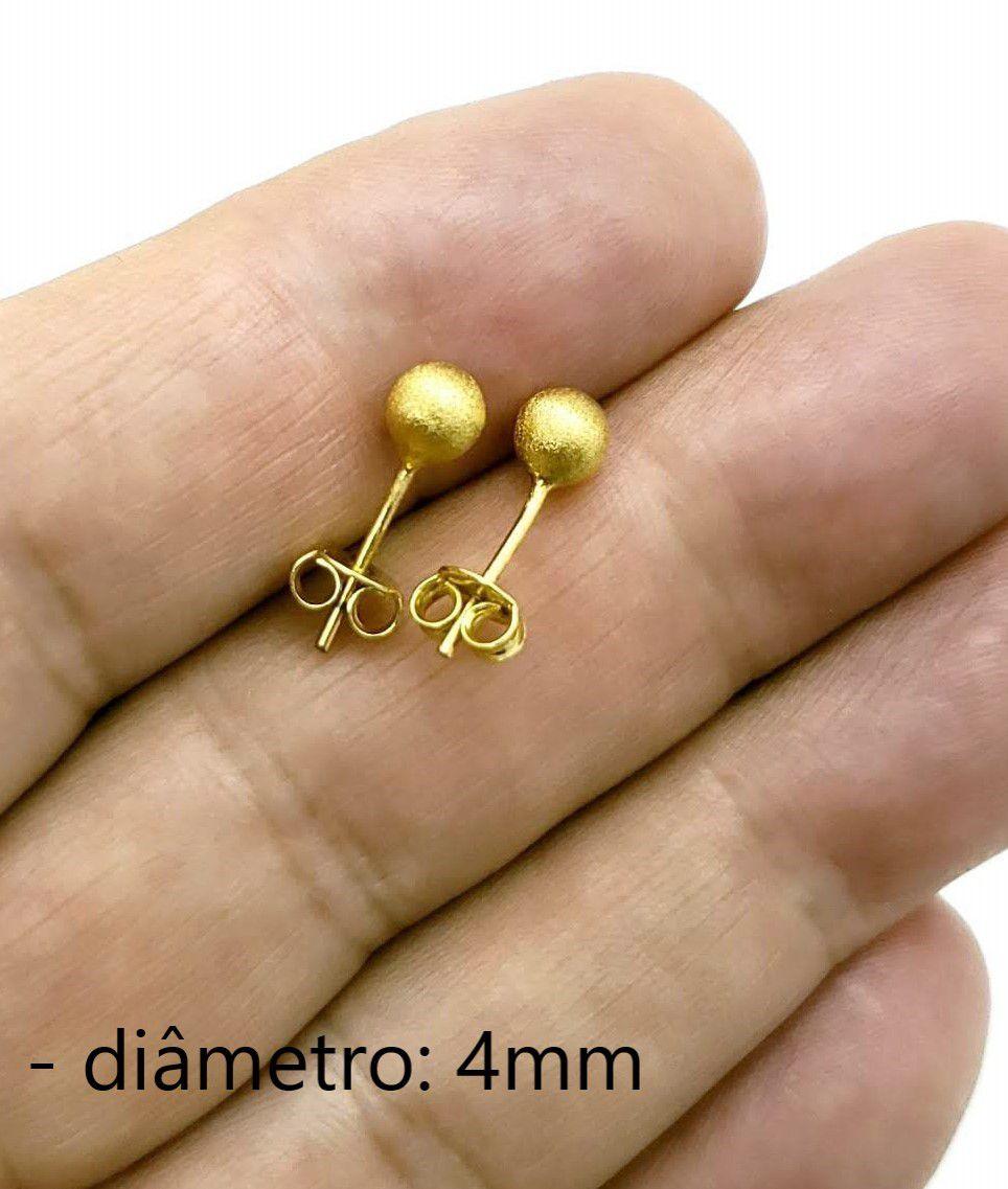 Brincos Bolas Escovados Banho Ouro 18k 83