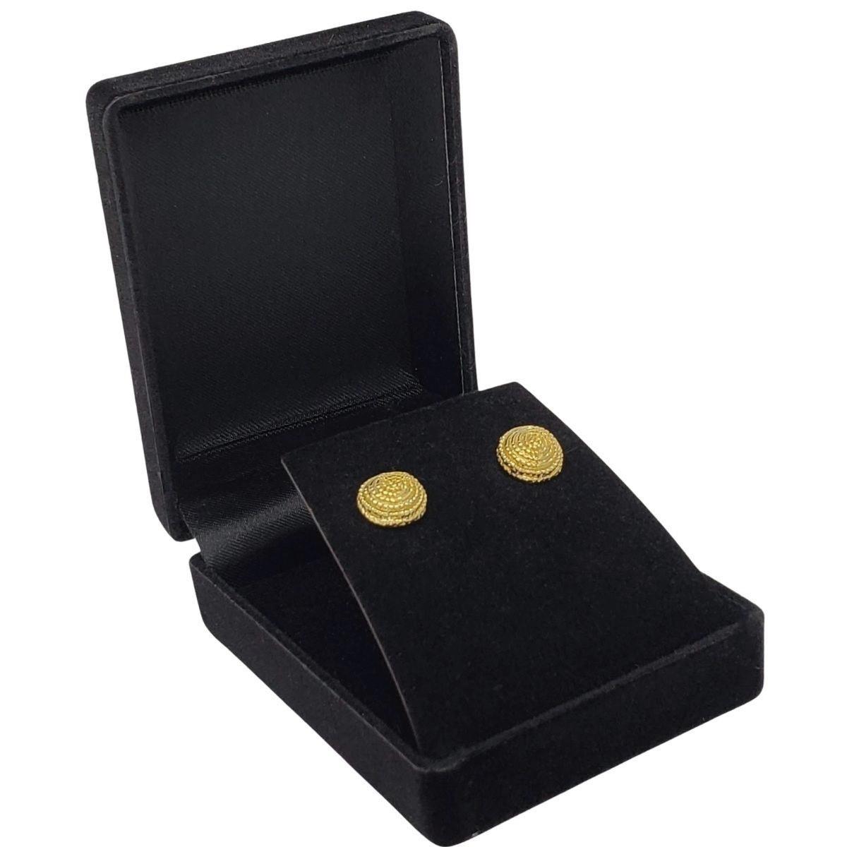 Brincos Botão Banho De Ouro 18k 2603