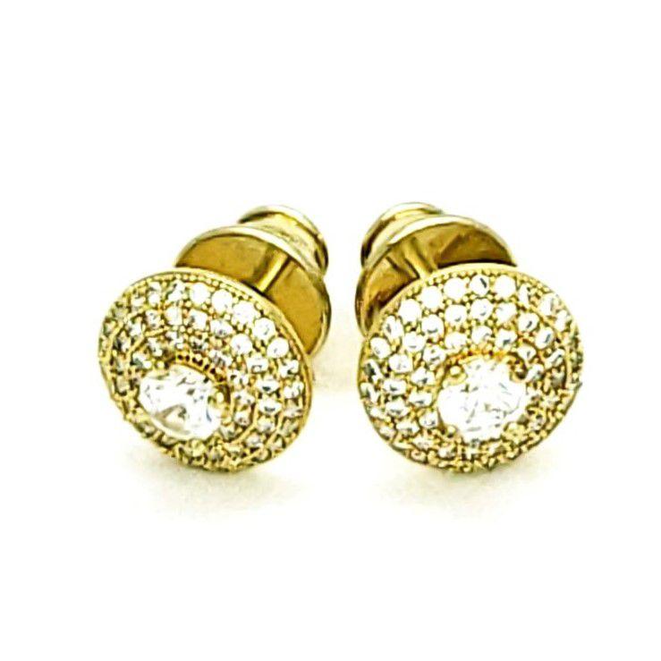 Brincos Botão Cristal E Cravejado Banhados Em Ouro 18k 1407