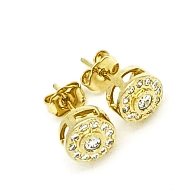 Brincos Botão Cravejados Banhados A Ouro 18k 1396