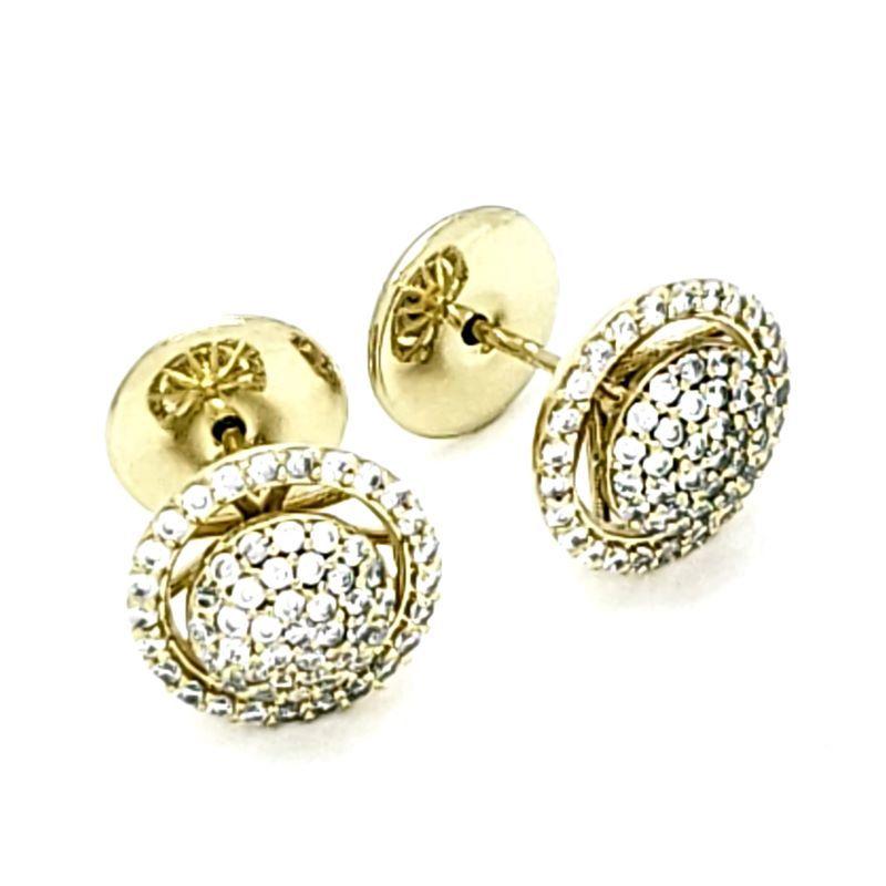 Brincos Botão Cravejados Em Prata Com Banho De Ouro 18k 1698