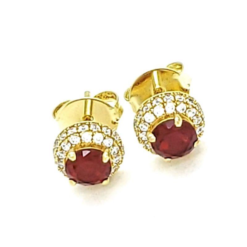 Brincos Botão Cristal Cravejados Zirconias Banhados A Ouro 18k 1408