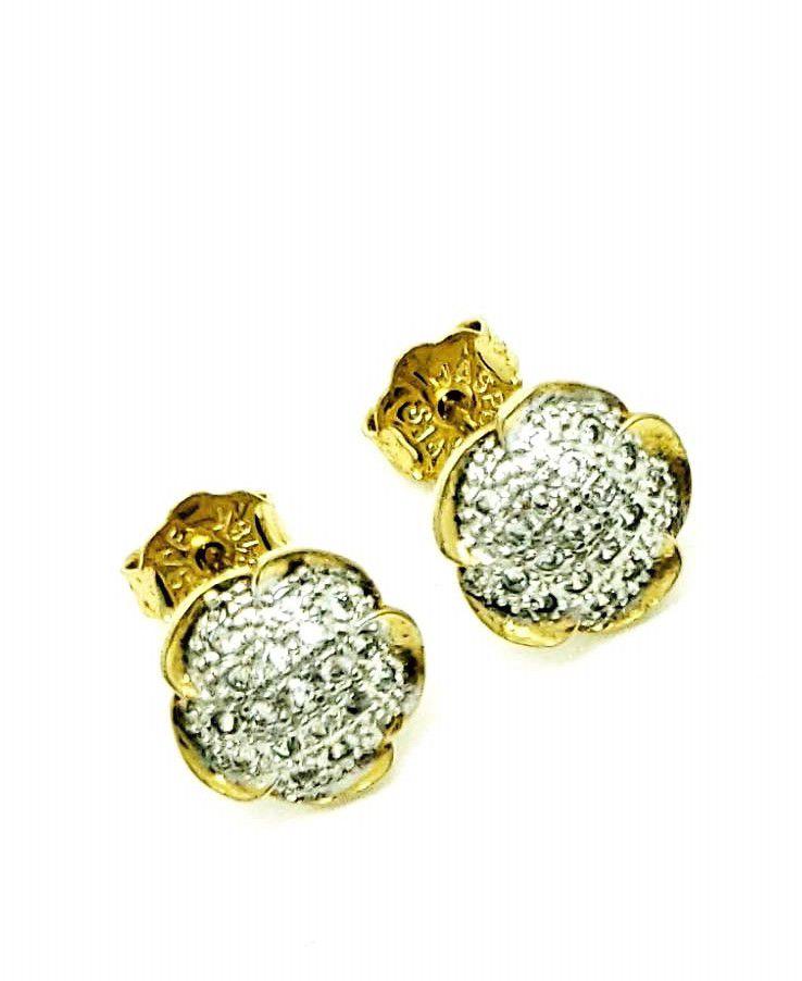 Brincos Botão Flor Cravejados De Zirconias Banhados A Ouro 18k 631
