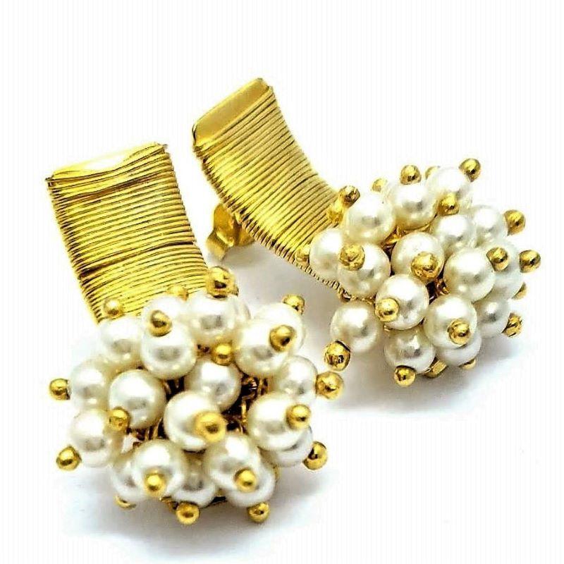 Brincos Bouquet Mini-pérolas Banho De Ouro 18k 1615