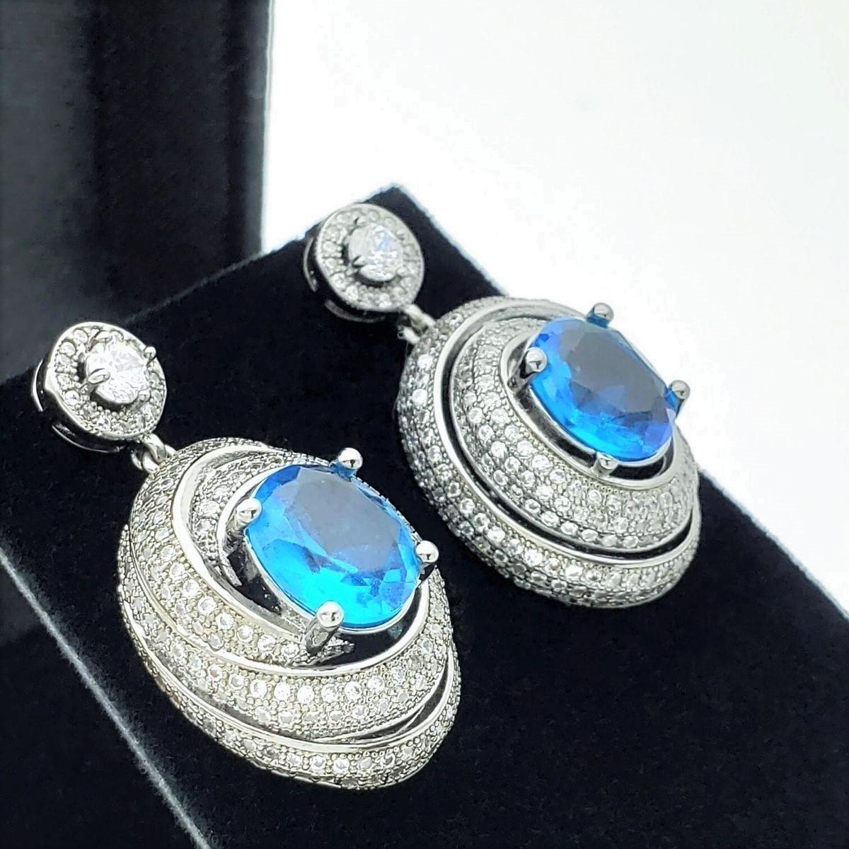 Brincos Caracol Azul Safira Cravejado Pavé De Zirconias Ródio Negro 2384