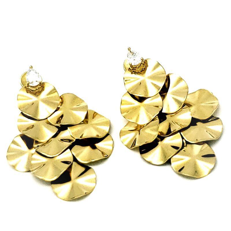 Brincos Cascata Com Zirconia Banhados A Ouro 18k 1372